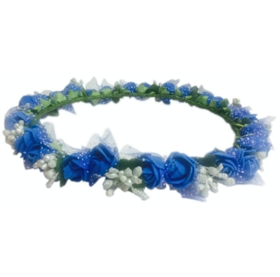 Loops n knots Blue & Silver Floral Tiara/Crown/Headband For Girls & Women