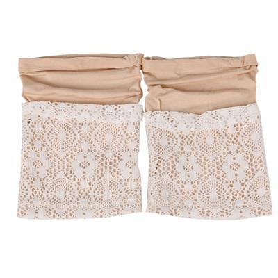 MagiDeal Women Lace Double Layer Leg Warmers Stretch Lace Sock Beige
