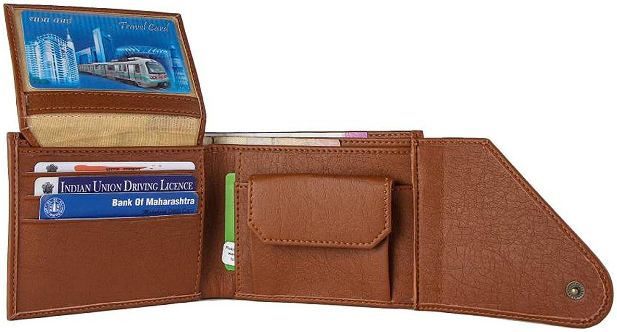 Men Stylish Wallet, PU Leather, Tan in colour, Tri-Fold, Hand Made, Long Lasting Quality, (Model-MW/TF/T-0004)