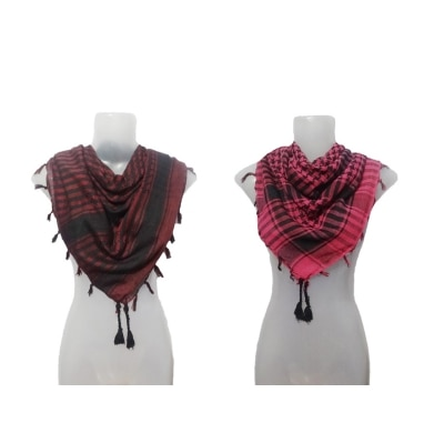 Muumuu Cotton Checkered Maroon & Pink Combo Of 2 Scarf