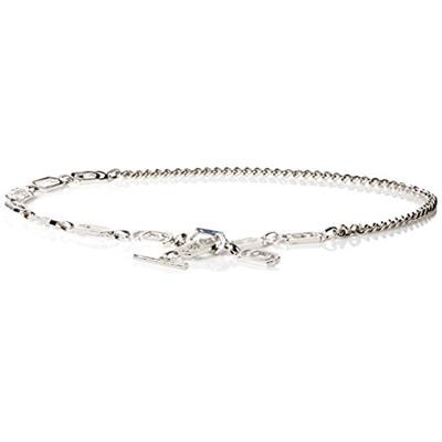 Nine West Women's 3/4 Inch Geo Chain Belt, Polished Silver, Large/X-Large