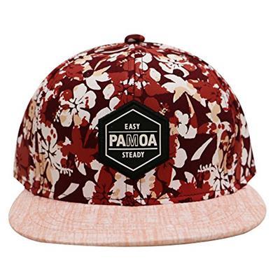 PAMOA Hawaiian Flower Summer Snapback Cap Red