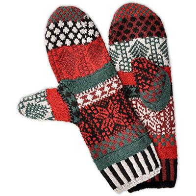 Solmate Socks - Mismatched Fleece Lined Mittens/Gloves for Women or For Men Made in USA One Size Fits Most Adults Poinsettia Winter Pattern
