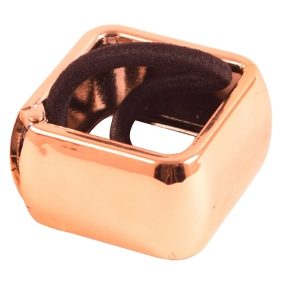 Style Tweak Rose Gold Square Hair Cuff Ponytail Holder Rubber Band