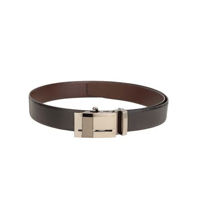 Teakwood Men's Black Leather Formal Belt