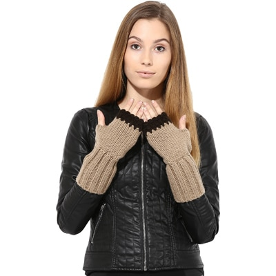 The Gud Look Beige Fingerless Gloves