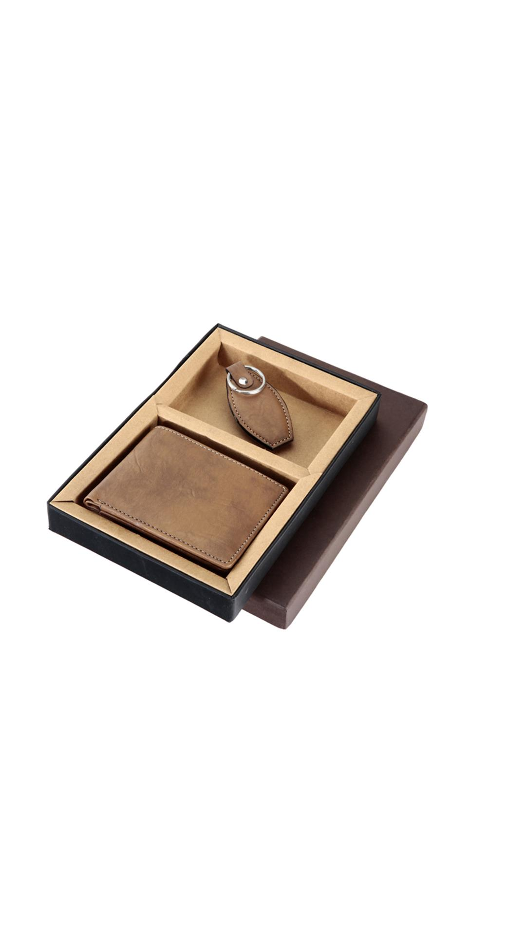 borse brown wallet &  key ring gift set