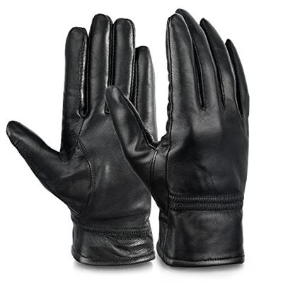 Vbiger Womens Leather Gloves Winter Gloves Cold Weather Warm Mittens Black (L Black)