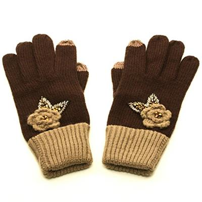 Winter Crochet Flower Knit Sequins Magic Touch Screen Thumb Index Gloves Brown
