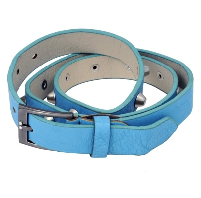 WOAP Blue Colour Pu With Silver Polish Stud & Buckle Belt
