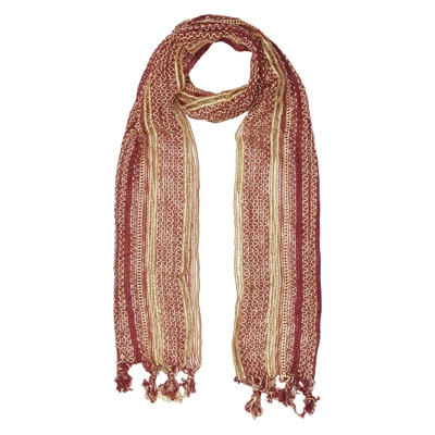 Yepme Beige And Maroon Stole