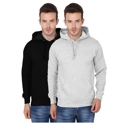 2 Pack Combo Men's Hooded Sweatshirt (BlackGrey Melange Color)
