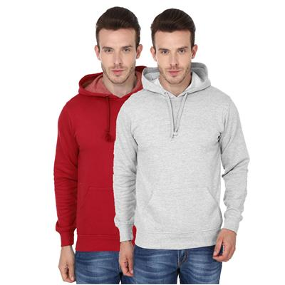 2 Pack Combo Men's Hooded Sweatshirt (Red Grey Melange Color)