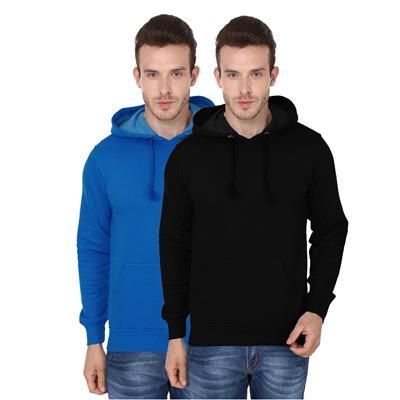 2 Pack Combo Men's Hooded Sweatshirt (Royal BlueBlack Color)