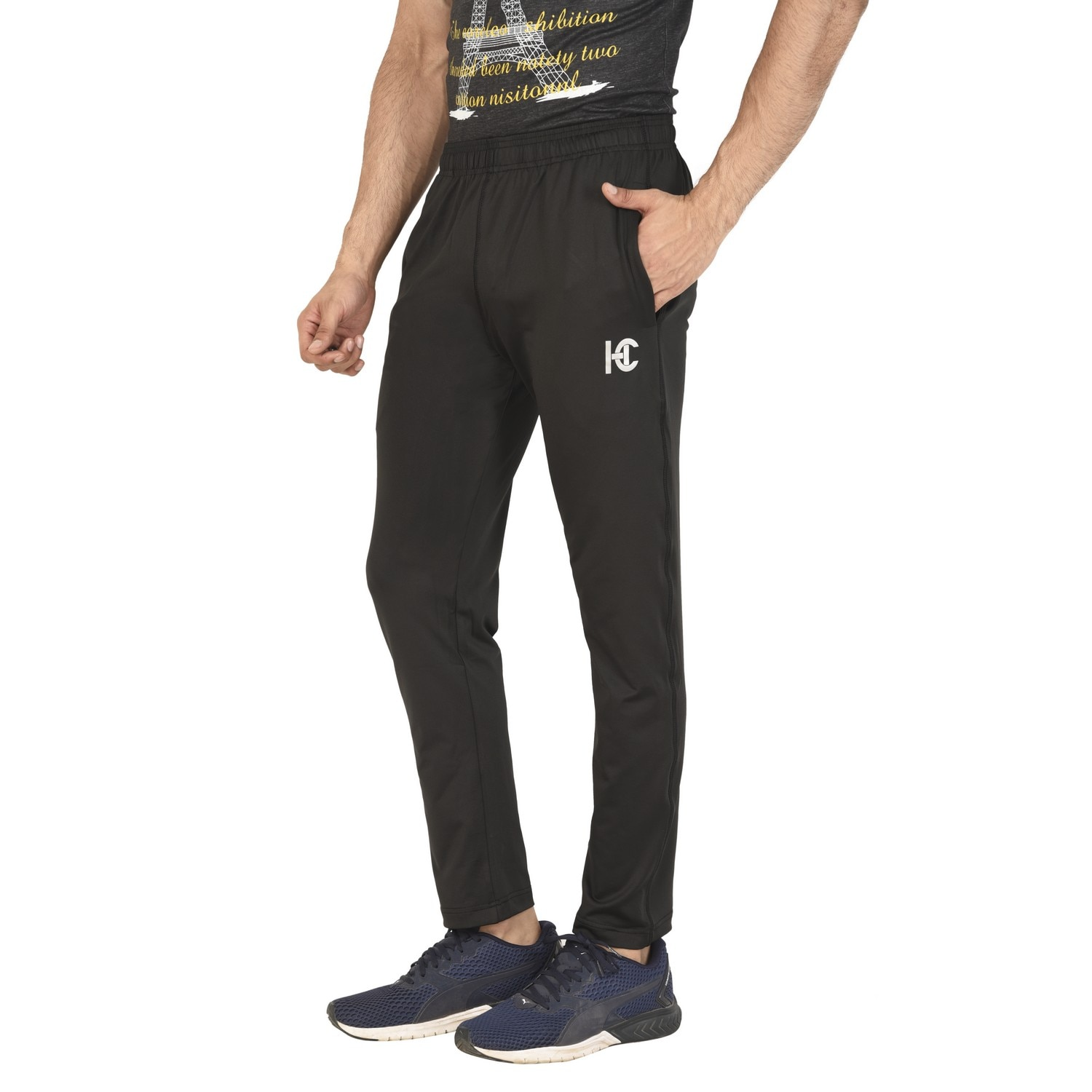 4-Way Black Sports Activewear Polyester Lycra Trackpant