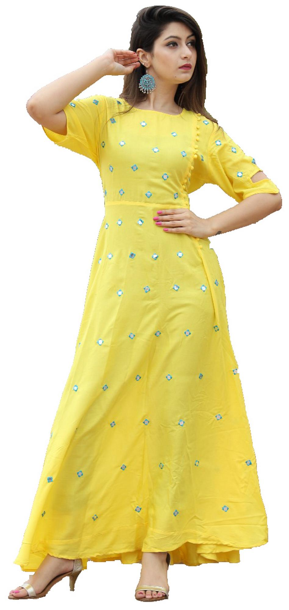 6th Avenue Yellow 3/4 Sleeve Rayon Kurti with Mirror Work - Large(40)
