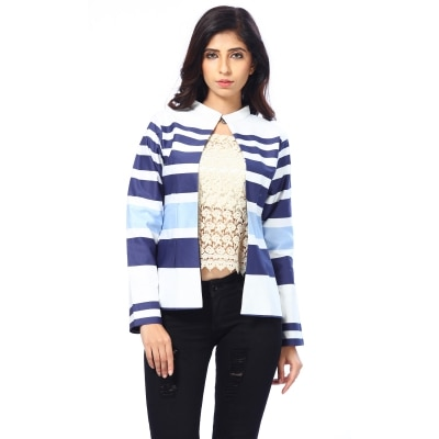 Abony Blue White Striped Cotton Jacket
