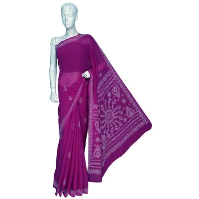 Ada Hand Embroidered Designer Party Wear Pink Faux Georgette Lucnkowi Chikankari Saree With Blouse available at Paytm for Rs.1060