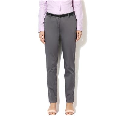 Allen Solly Cotton Lycra Blend Grey Solid Regular Fit Business Casual Trouser