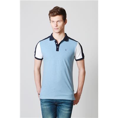 Allen Solly Blue Cotton Blend Regular Fit Solid Polo Neck T shirt