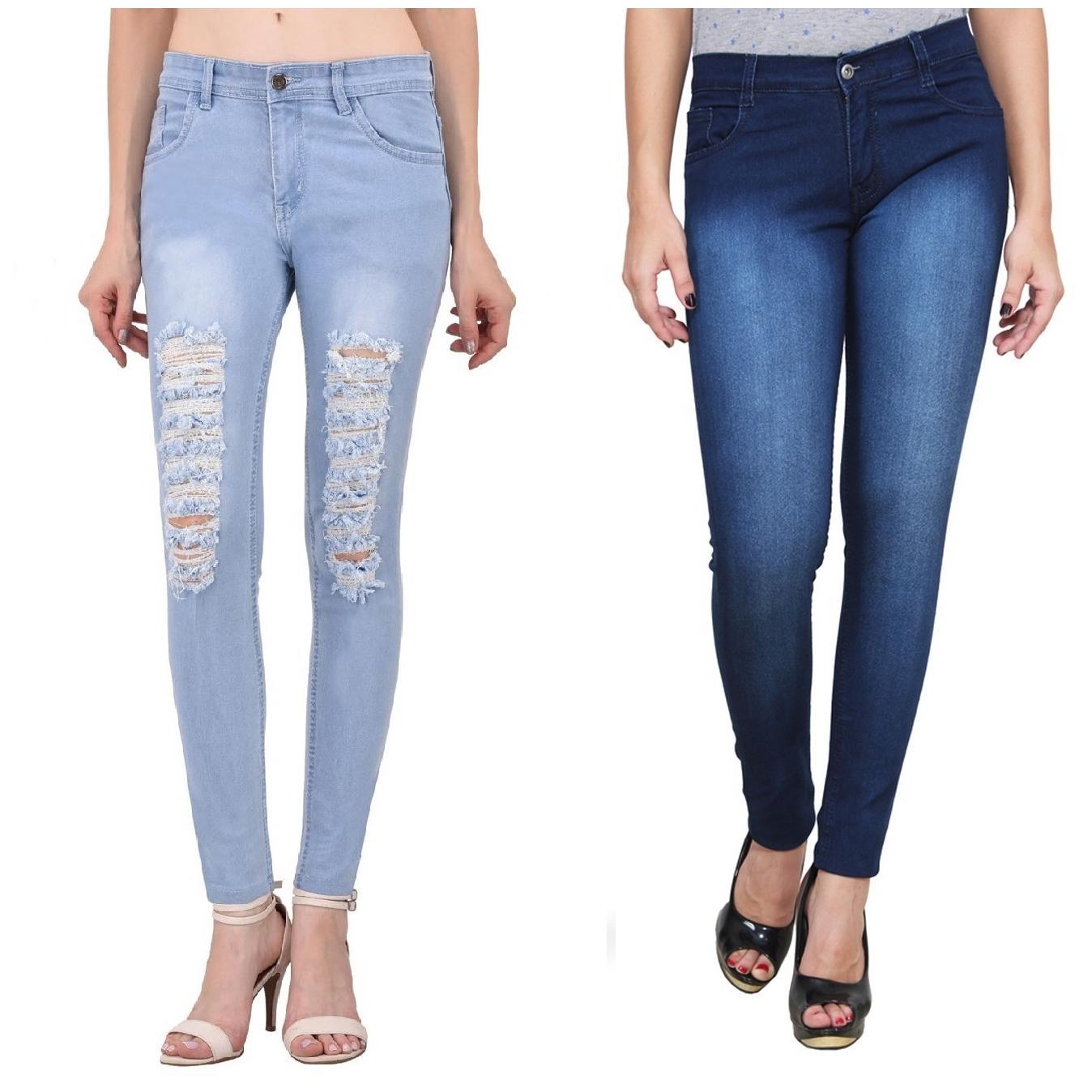 Ansh Fashion Wear Women's Denim Jeans - Regular Fit - Pack of 2 - T5LB-DBM