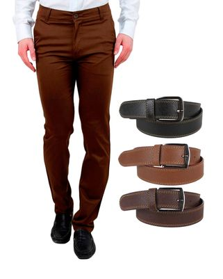Ansh Fashion Wear Men's Casual Wear Chinos With Free Pack Of 3 Stylelish Belt