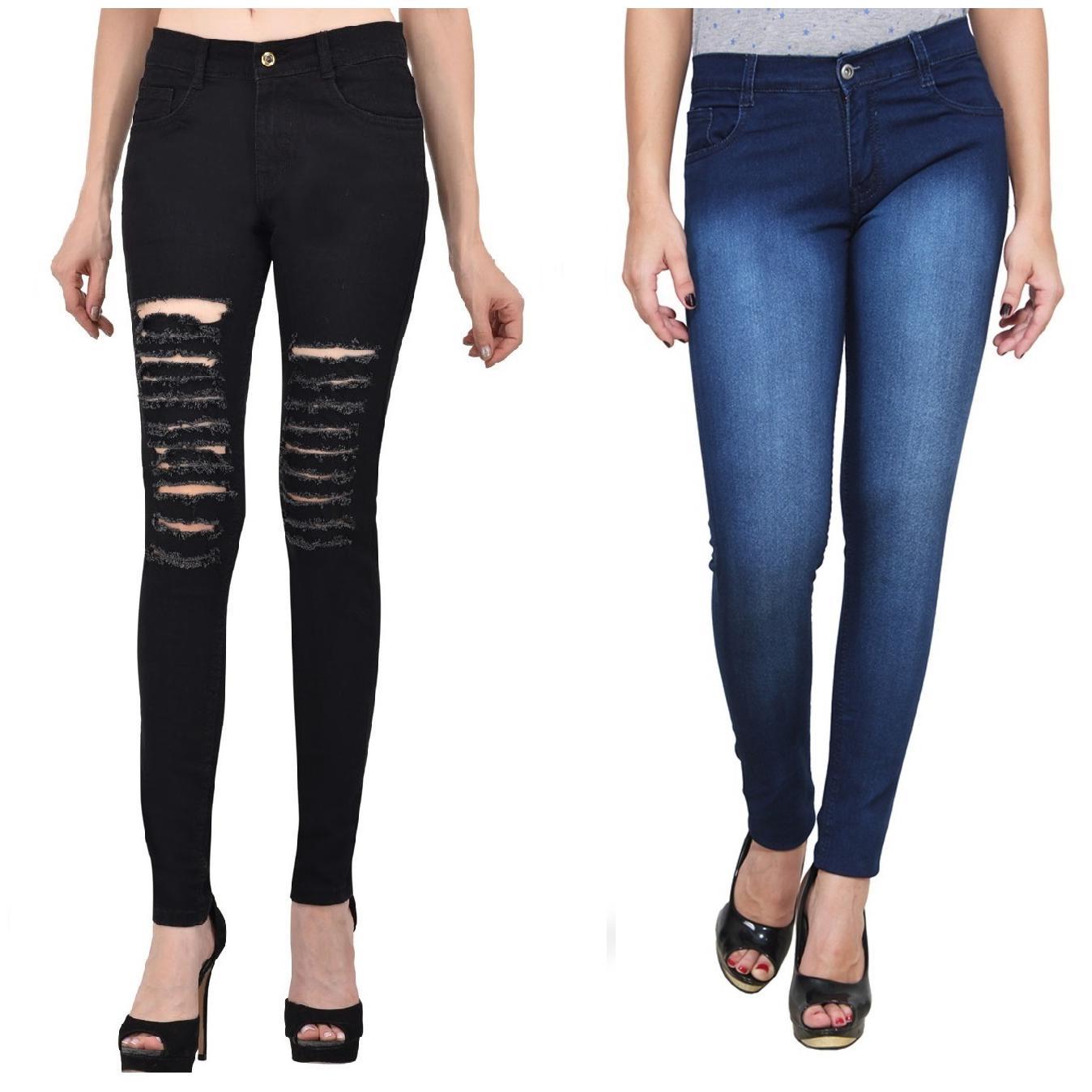 Ansh Fashion Wear Women's Denim Jeans - Regular Fit - Pack of 2 - T5BLK-DBM