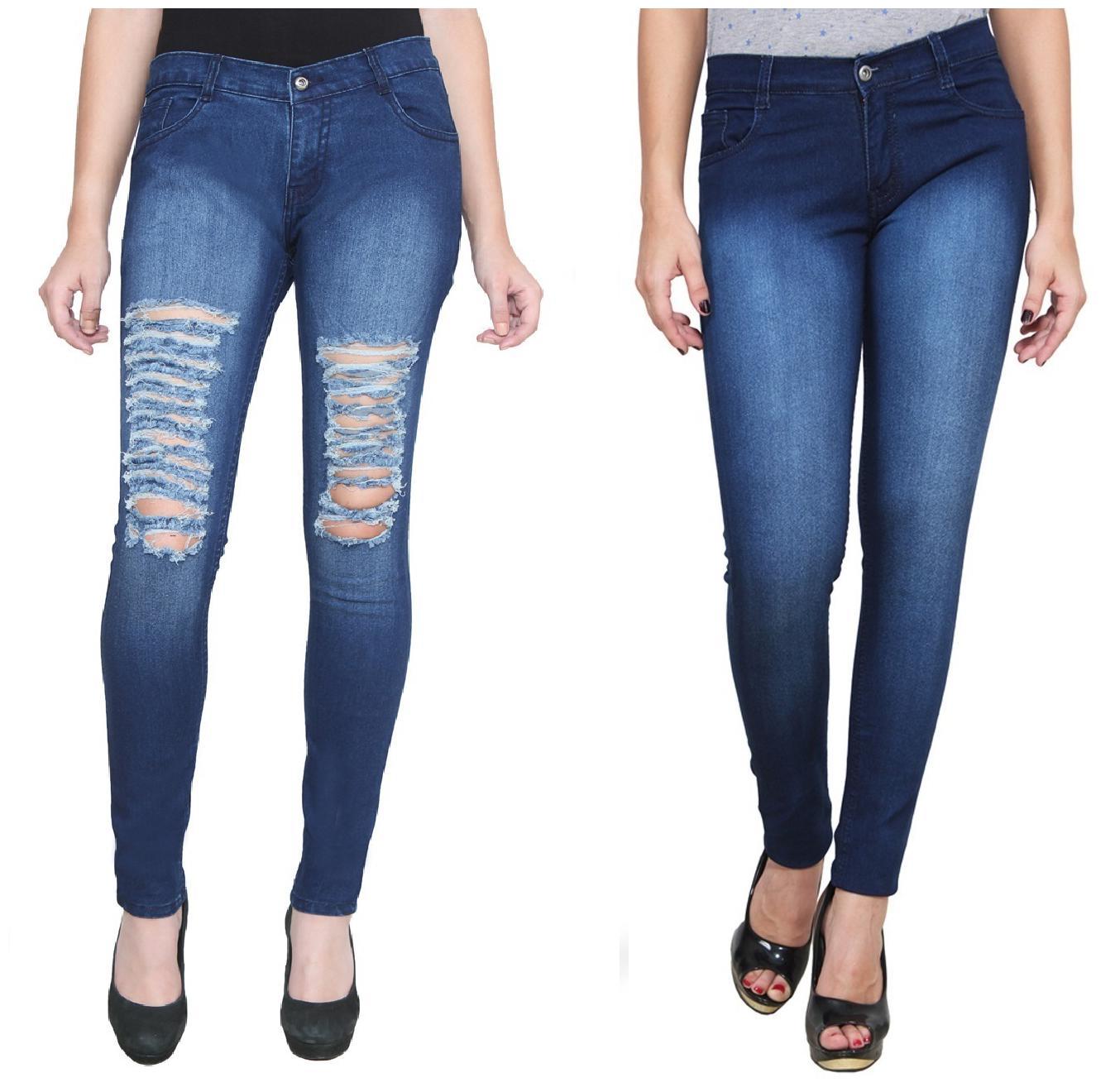 Ansh Fashion Wear Women's Denim Jeans - Regular Fit - Pack of 2 - T5DB-DBM