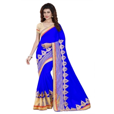 Aradhya Fashion Women's Embroidered Faux Georgette Blue Saree