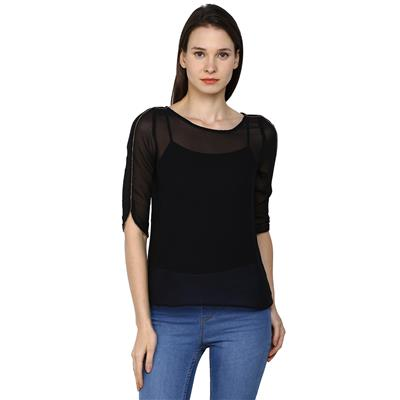 Arrow Black Women Regular Tops