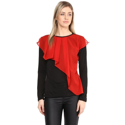 ATHENA Red and Black Double Layered Top