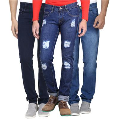AVE Fashionwear Cotton Blend Blue Denim & Damge & Faded Jeans Combo For Mens- Pack Of 3