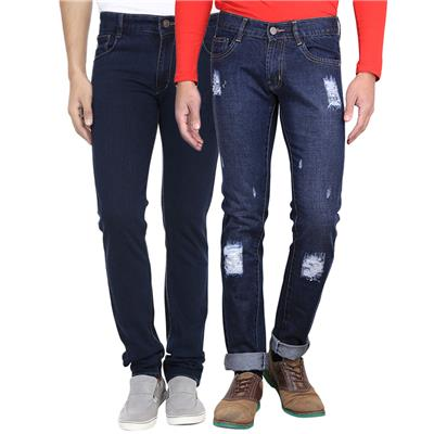AVE Fashionwear Slim Fit Cotton Blend Blue Denim and Damge Jeans Combo For Mens- Pack Of 2