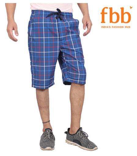 Bare Checked Mens Blue 3/4th Shorts