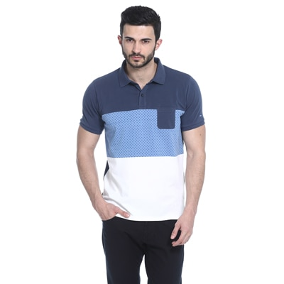 BASICS CASUAL PRINTED BLUE COTTON ELASTANE MUSCLE T.SHIRT