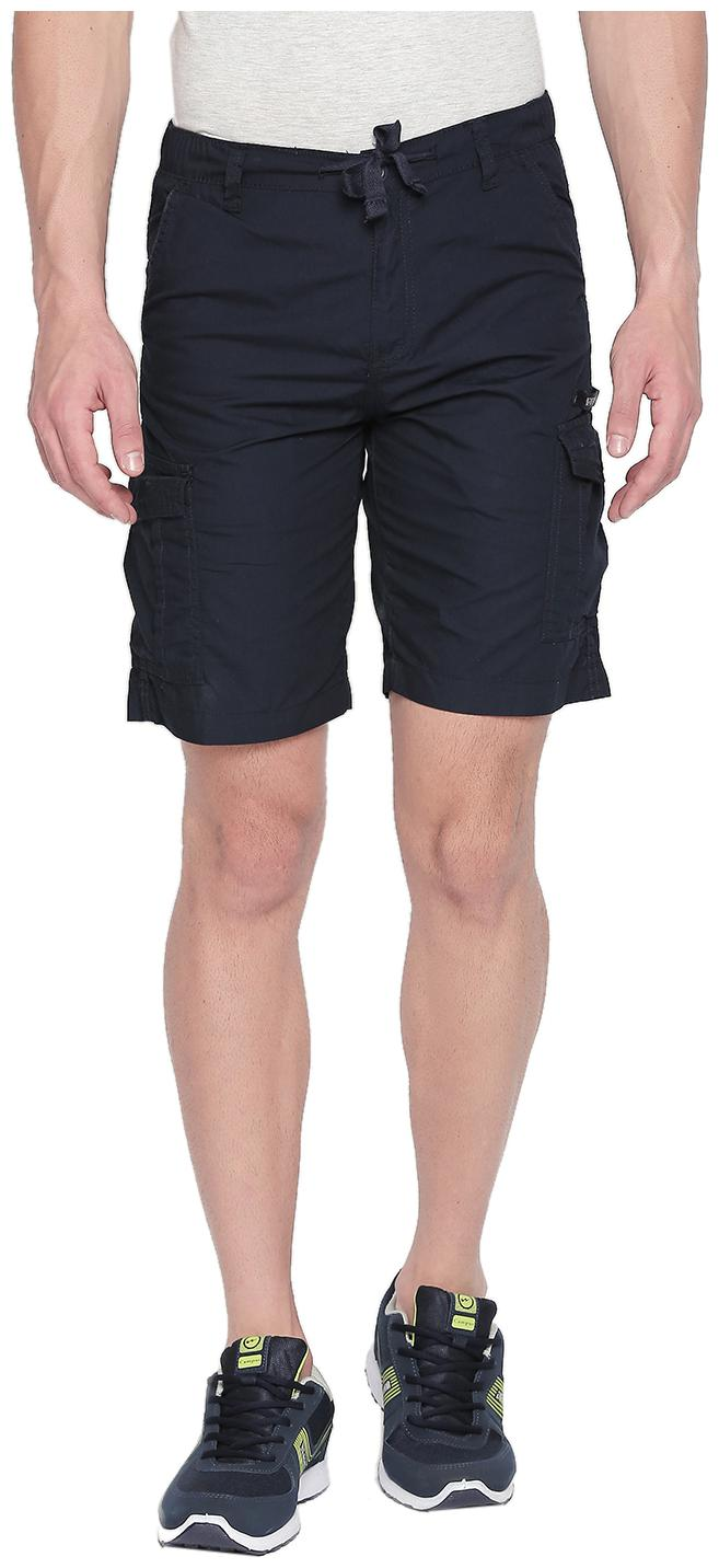 Beevee Cotton Solid Shorts & 3/4ths y Blue