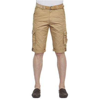 Beevee Mens Khaki Fixed Waist Cargo 3/4Th Pant With Belt