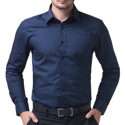 Being Fab Men's Solid 100% Cotton Regular Fit Casual Navy...