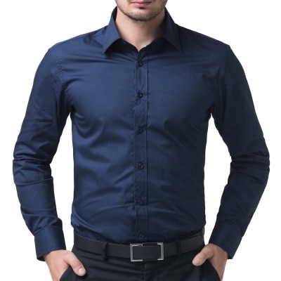 Being Fab Men's Solid Casual Navy Blue Regular Fit Shirt