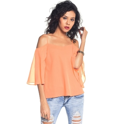 Besiva Peach;Off Shoulder;Quarter Sleeve Top.