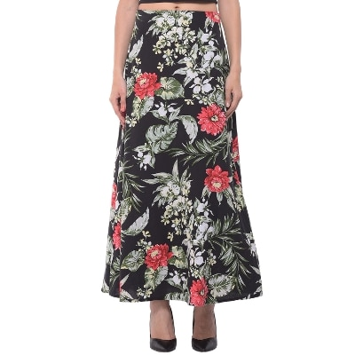 Black Botanical Print Maxi Skirt
