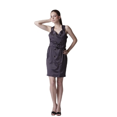 Trendy DivvaBlack Casual Dress With Front Buttons