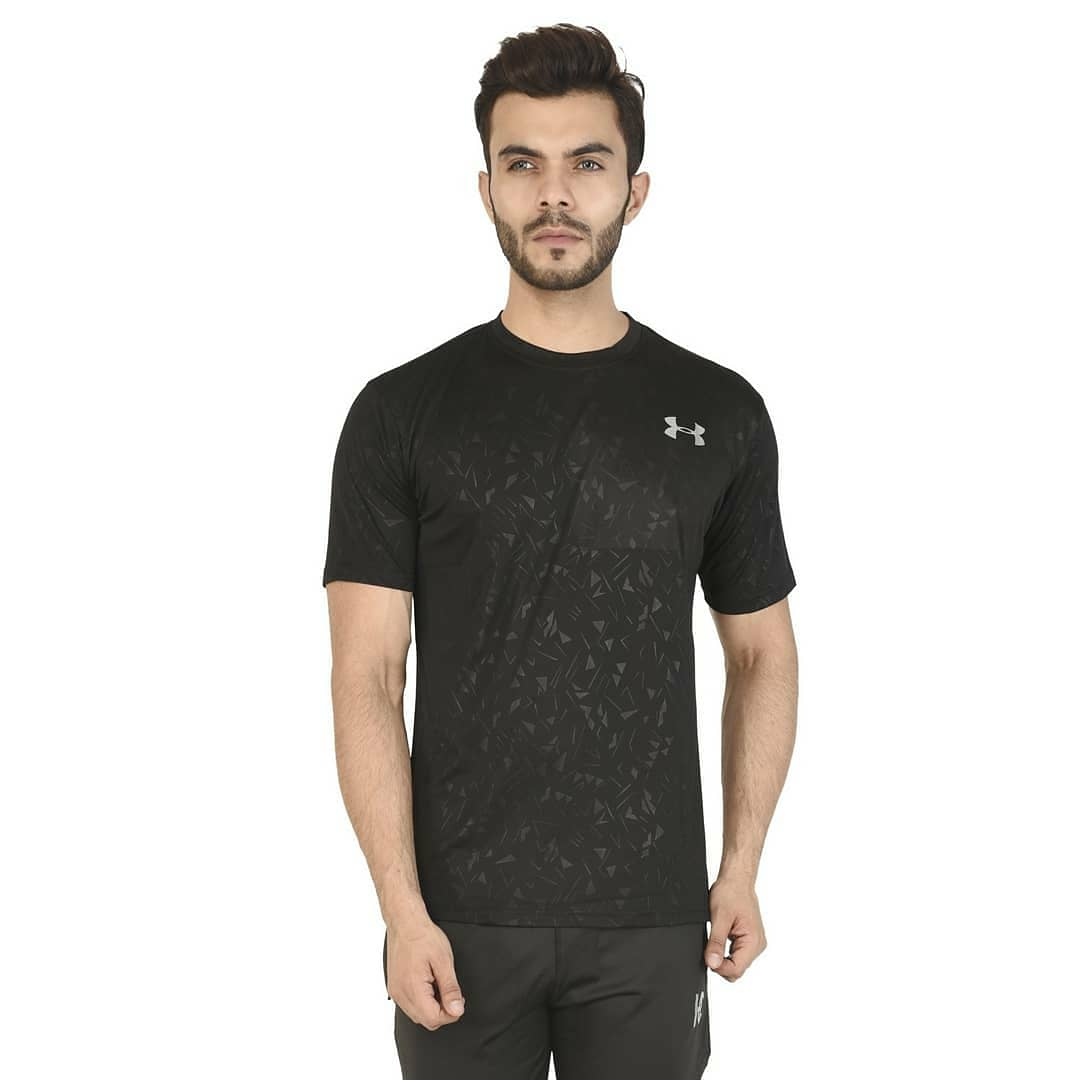 Black Sports Activewear Round Neck T-Shirt
