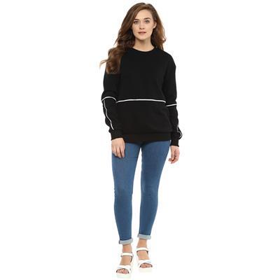 Black Sweatshirt with Piping