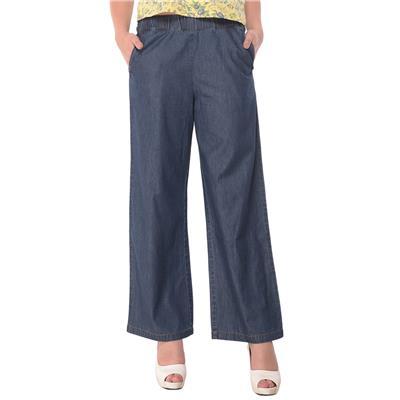 Nineteen Blue Cotton Chambray Wide Leg Pants
