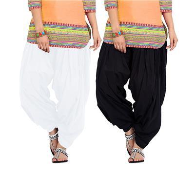 BOTH11 White & Black Cotton Patiala Salwar