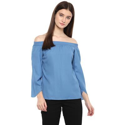 Calgari Blue Polyester Regular Tops