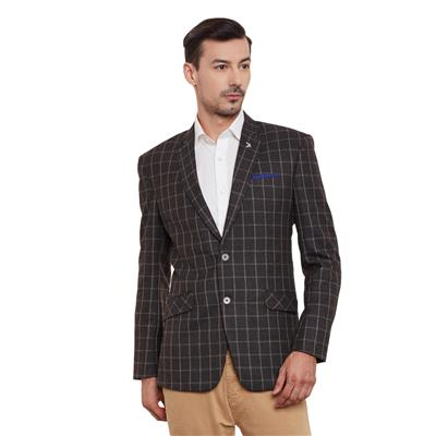 Canary London Check Blazer with Two Button and Pocket Square