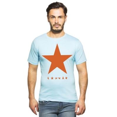 Clifton Mens Star Printed T-Shirts Half Sleeve R-Neck-Light Blue-Orange Star