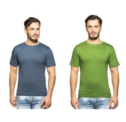 Clifton Mens Combo Half Sleeve R-Neck T-Shirt-NavyMelange-Tree Top Green